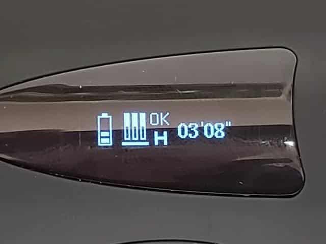 振動後に予熱が始まり40秒後に液晶パネルに「OK」の文字が出たら吸引が可能になります。