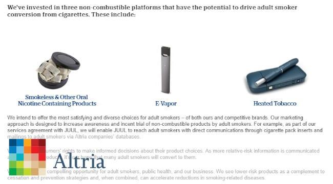 アルトリアが株式を取得した企業がポイント