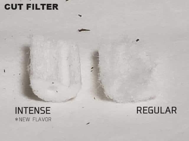 切断したフィルター部分の比較