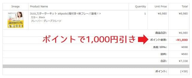 ポイントで1,000円引き