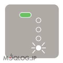 バッテリー残量確認時に状態表示LEDの1つが点滅している