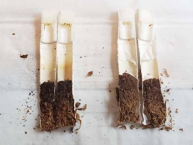 吸い比べ後のたばこスティック