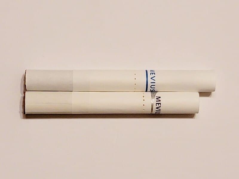 新旧たばこスティックの長さ比較